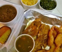 Weekend #Foodspotting: #SoulFood Feast! Grilled #RedSnapper, Fried #Shrimp, #BlackEyedPeas, #CollardGreens, #MacAndCheese, #Gumbo, and #CornBread @ #DirtySouthSoulFood, #Lawndale… Yum!