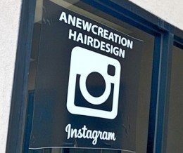 Love seeing local #smallbiz promoting their #socialmedia. Here's @aNewCreationHairDesign of #Torrance showing off their Instagram cred. How do you market your online presence in the real world?