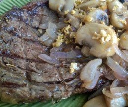 #Steak is ready! Bone-in #ribeye with caramelized #mushrooms and #onions, plus #garlic butter sauce. #KwonCanCook!