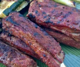 #Dinner: dry-rubbed, roasted, then grilled #pork #spareribs with grilled #zucchini and #green onions ~ #KwonCanCook