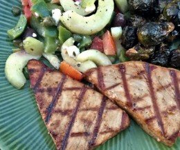 #Dinner @ home: #grilled #tuna steaks, Greek #salad, and #roasted #BrusselsSprouts
