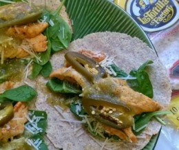 #Gastromedia Cookery: Made some #tacos using low carb, high fiber whole wheat #tortillas from our client, #LaTortillaFactory, with #chicken, #spinach, #Parmesan, #jalapenos, and #salsaverde. Yum! ~ #KwonCanCook