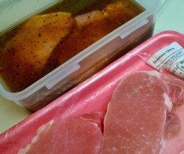 Prepping some #porkchops in homemade #lemonpepper #marinade ~ #GrillingLaterGram