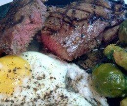 #Brunch @ home: #Steak + #Eggs + #BrusselsSprouts