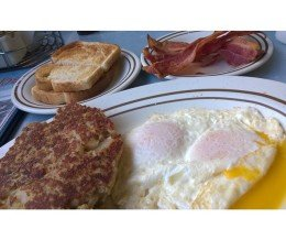 #Breakfast: ground turkey #hash & #eggs w/side of #bacon @ #EatAtJoes, #RedondoBeach