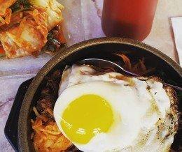 #Hotstone #beef #bibimbap w/a side of #kimchi @ #DestiniCafe, #PlayaDelRey
