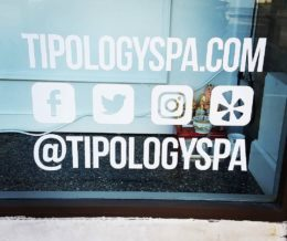 Visiting a client: @tipologyspa. Love seeing clients promote their #socialmedia pages front-and-center. Way to go! We're launching their website soon. Stay tuned 😊