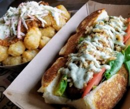 Free #HausDog for #DogHaus Carson's grand opening: #SoooCali dog with #TheLoveBoat (tots)! 😋 #kwonshare