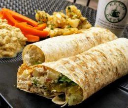 Brunch: tuna salad wrap w/ baba ghanouj & kech potato salad at #KechCafe, Torrance 😋 We ❤️ design and marketing for restaurants! info@mediacookery.com #kwonshare
