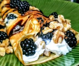 #Crepe v2.0: #blackberries & #walnuts with cream, cinnamon & chocolate drizzle 😋 – John #KwonCanCook